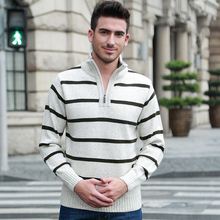 Men's Fashion Clothing Wool Sweater Outwear Extra Thick for Autumn Winter Knit Pullover Tops Striped New Arrival 2-722