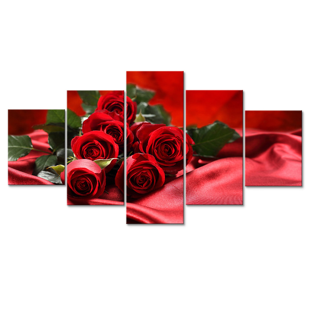 Modular canvas painting red rose canvas prints landscape modern wall art print painting flower wall pictures
