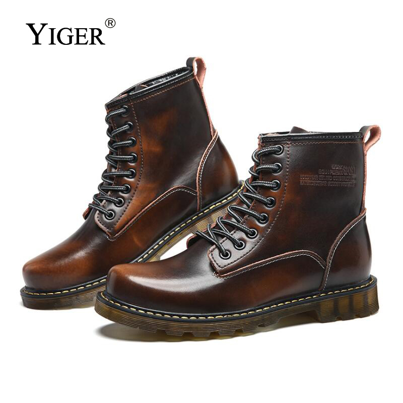YIGER New Man Martins boots winter Genuine Leather man military boots men Desert boots Man lace