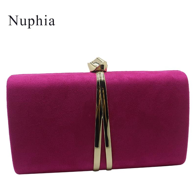 precio competitivo 437f4 e0cc6 Bolsos de mano de noche de gamuza de Nuphia y embragues de fiesta bolsos de  noche para mujeres amarillo azul real naranja rojo púrpura