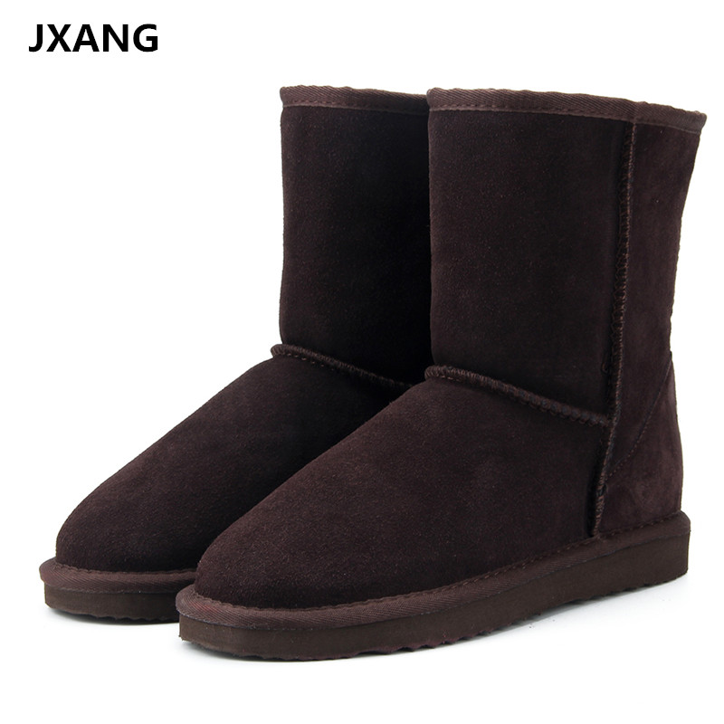 JXANG High Quality Genuine Cowhide Leather UG Australia Classic snow boots Women Boots Warm winter shoes for women large size