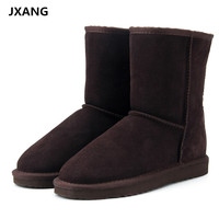 JXANG High Quality Genuine Cowhide Leather UG Australia Classic Snow Boots Women Boots Warm Winter Shoes