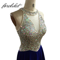 Royal Blue Chiffon Prom Dresses 2020 Long Evening Dresses Beading Crystals Halter Formal Party Dresses Sequined Robe De Soiree