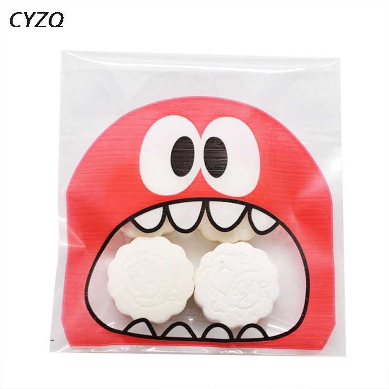 50Pcs Cute Big Teech Mouth Monster Plastic Bag Wedding Birthday Cookie Candy Gift Packaging Bags OPP Self Adhesive Party Favors