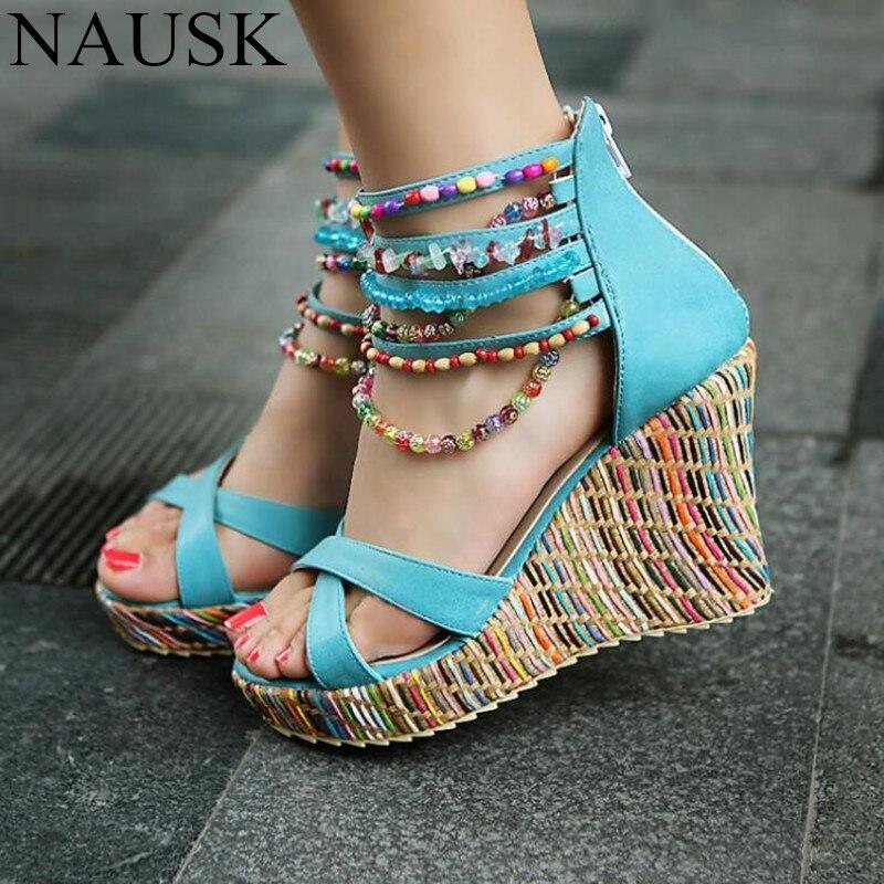 b036b5f85c0 NAUSK Bohemian Women Sandals Ankle Strap Wedges Beads Ladies Platform Shoes  Plus Size Straw High Heels Sandals Female Cover Heel