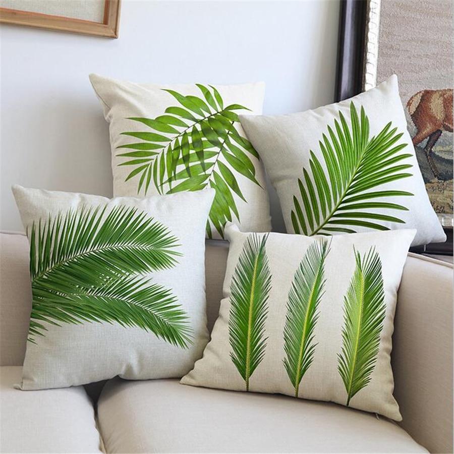 Tropical Plant Green Leaves Velvet Cushion Cover Home Decor Palm Leaf Sofa Throw Pillow Case Monstera Cotton Linen 45x45cm e1329