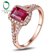 Caimao 10k Rose Gold Emerald Cut 1.28ct Pink Tourmaline & Natural Diamond Engagement Ring Fine Jewelry