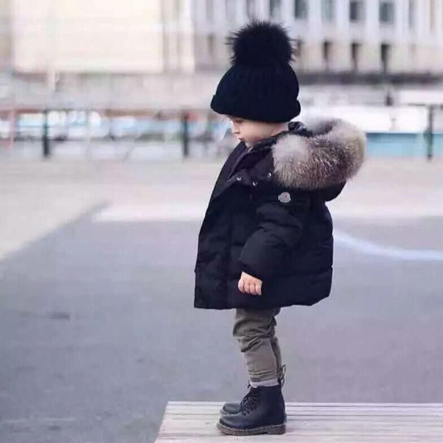 Cheap Baby Boys Down Parkas 2018 New Autumn Winter Jackets Coat Kids Warm Thick Hooded Children Outerwear Coat Toddler Clothing Fleece