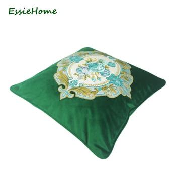 Cuscini Decorativi Di Lusso | ESSIE CASA Di Lusso Verde Muschio Verde Smeraldo Velluto Ricamo Cuscino Copertura Del Cuscino Caso Legname Federa Ricamo Rosa
