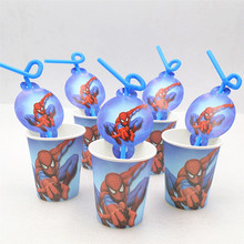 20pcs/set Cartoon Spiderman Straws/Cup Kids Happy Birthday Decoration Festival Party Supplies For Boys Favors