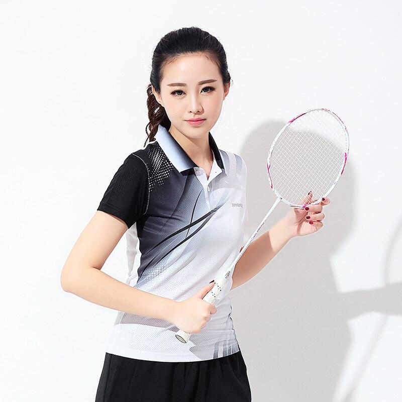 Новый бадминтон для летний спортивный для дам быстрый сухой летом бадминтон в теннис рубашки рубашка футболка с короткими рукавами Бесплат...