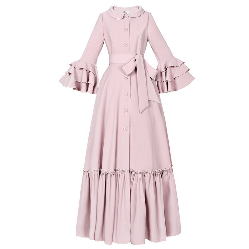 Free Shipping 2019 Fashion Women Long Maxi Long Ruffles Sleeve Trench Dresses Autumn Boshow Single Breasted Dress With Belt S-L
