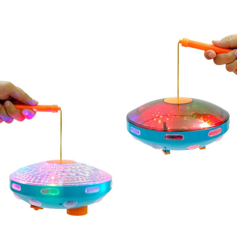 2019 nuevo resplandor eléctrico juguetes luminosos niños música niños Halloween juguete Universal Flying Saucer Disco suena lámpara linterna - 2