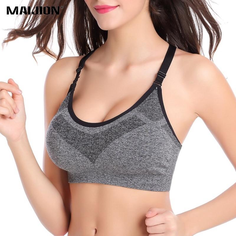 MAIJION 5 Colors Women Shockproof Sport Bras Professional Yoga Shirts Tops, Seamless Sports Fitness Yoga Running Vest Tank Tops