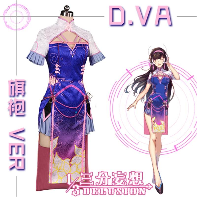 Game OW D.VA Cheongsam Dress Uniform Cos Cosplay Costume Dress+headdress Hot Sale