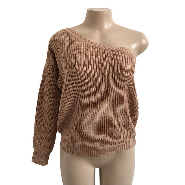 2d59a18de03 Women ladies autumn Loose Knitted Sweater fashion new long sleeve one- shoulder solid sexy casual pullover outwear tops