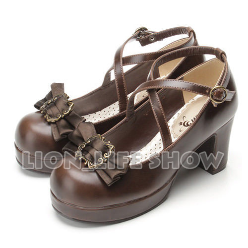 Japanese Retro Gothic High Heel PU Lolita Shoes Cosplay Costume Shoes Bowtie Pump