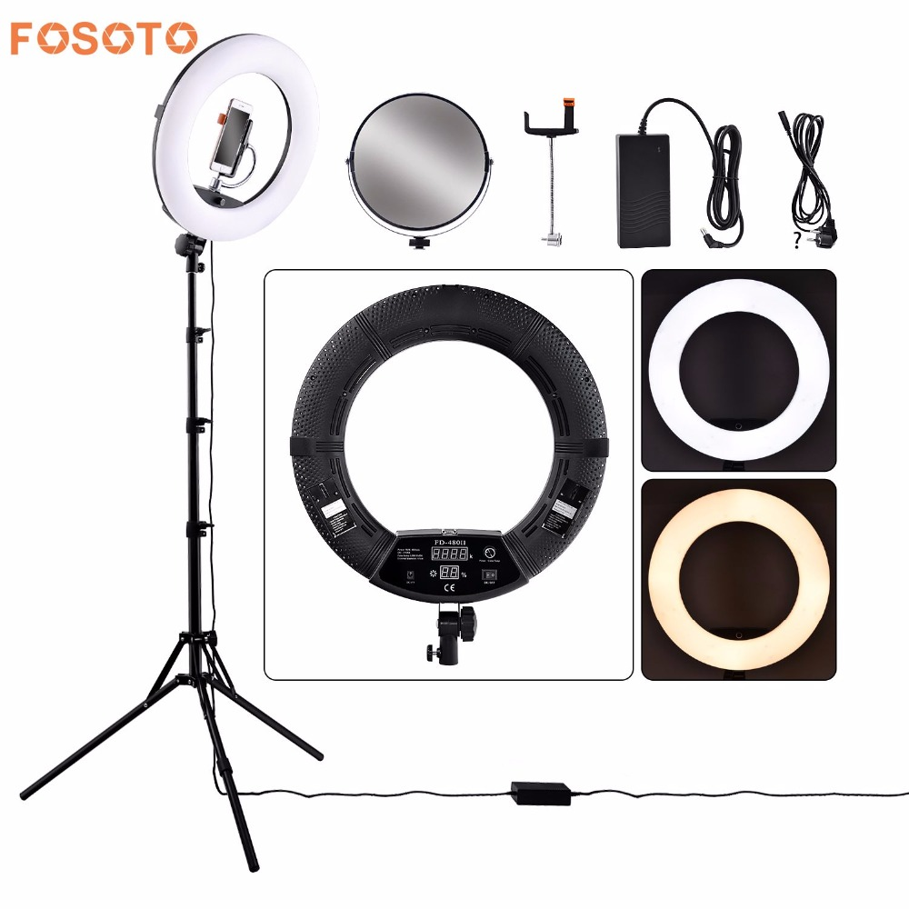 fosoto FD 480II Dimmable Bi color 1896W Camera Photo Video Photography LED Ring Light Lamp with LCD Screen/Tripod Stand/Mirror