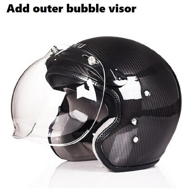 Retro Design Half  Face Carbon Fiber Helmet