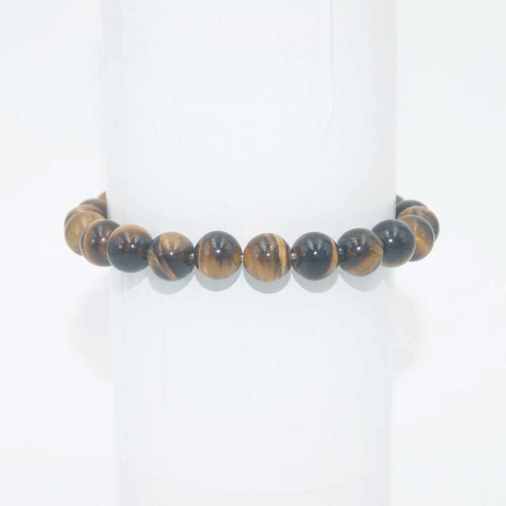 Transferência de sorte 6 8 10mm contas de pedra natural ametistas ágata olho de tigre lapis lazuli pulseiras para mulheres homens yoga pulseira femme