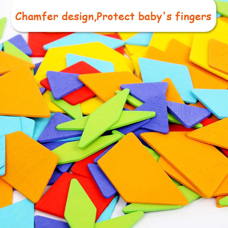 170 teile/satz Bunte Holz Tangram Puzzle Spielzeug Geometrische Form Spiel Lustige Kreativität Jigsaw Baby Vorschule Pädagogisches Kinder Spielzeug