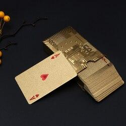 Juego de cartas de póquer de lujo de papel de platino resistente al agua juego de tarjetas de Porker chapadas en oro para juegos de mesa de Pokerstars Tarjeta de oro/plata
