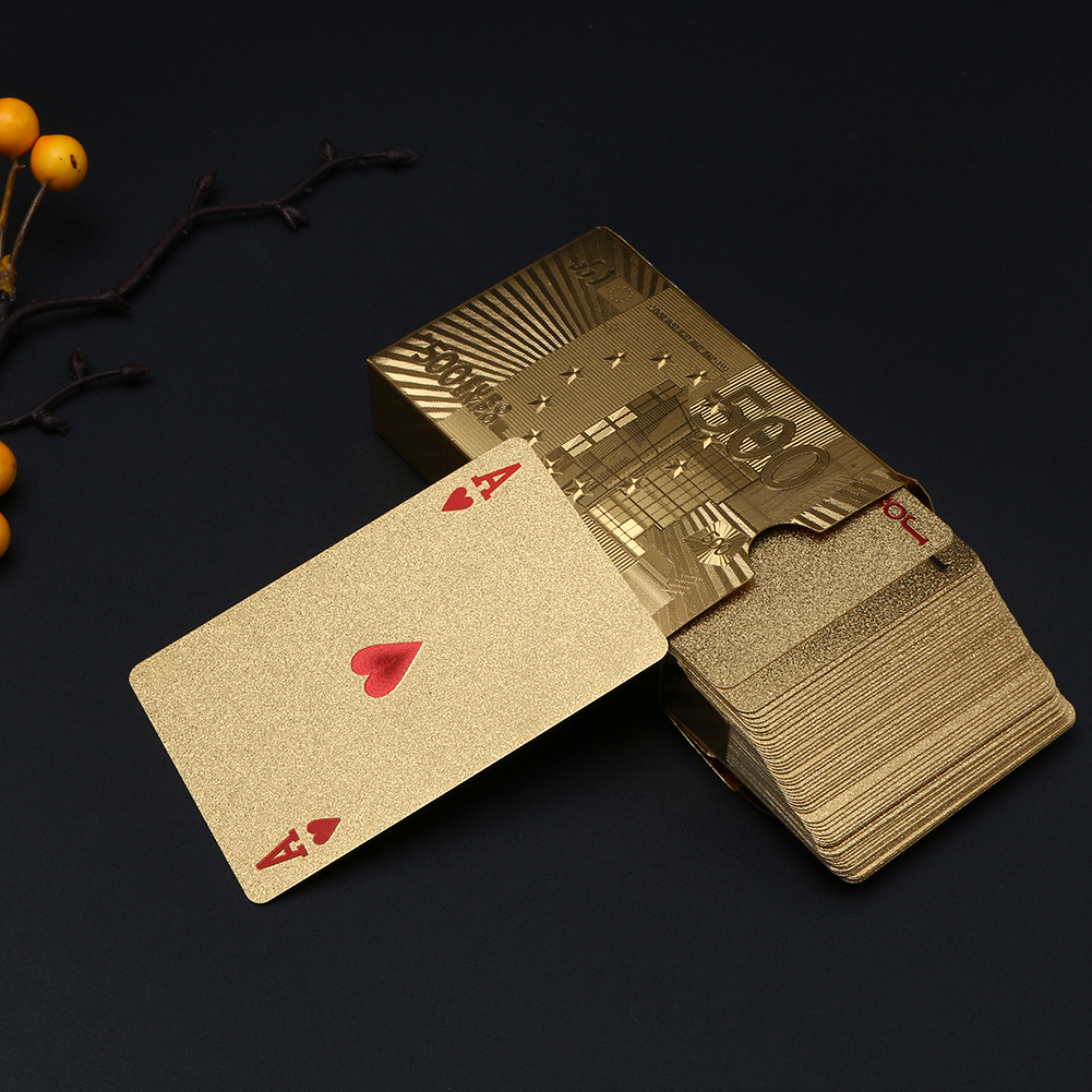 Poker Playing Cards Luxury Platinum Foil  Waterproof Gold Plated Porker Cards set For Pokerstars Board Games Gold/Silver Card