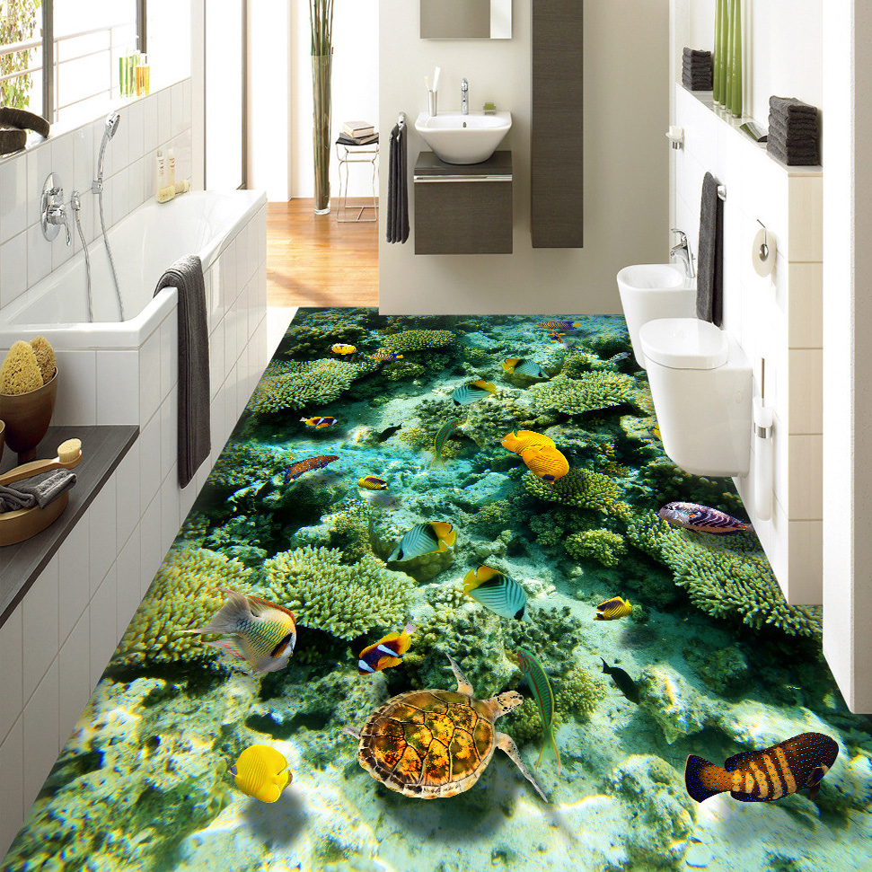 Custom 3d floor mural wallpaper ocean world living room for Bathroom floor mural sky