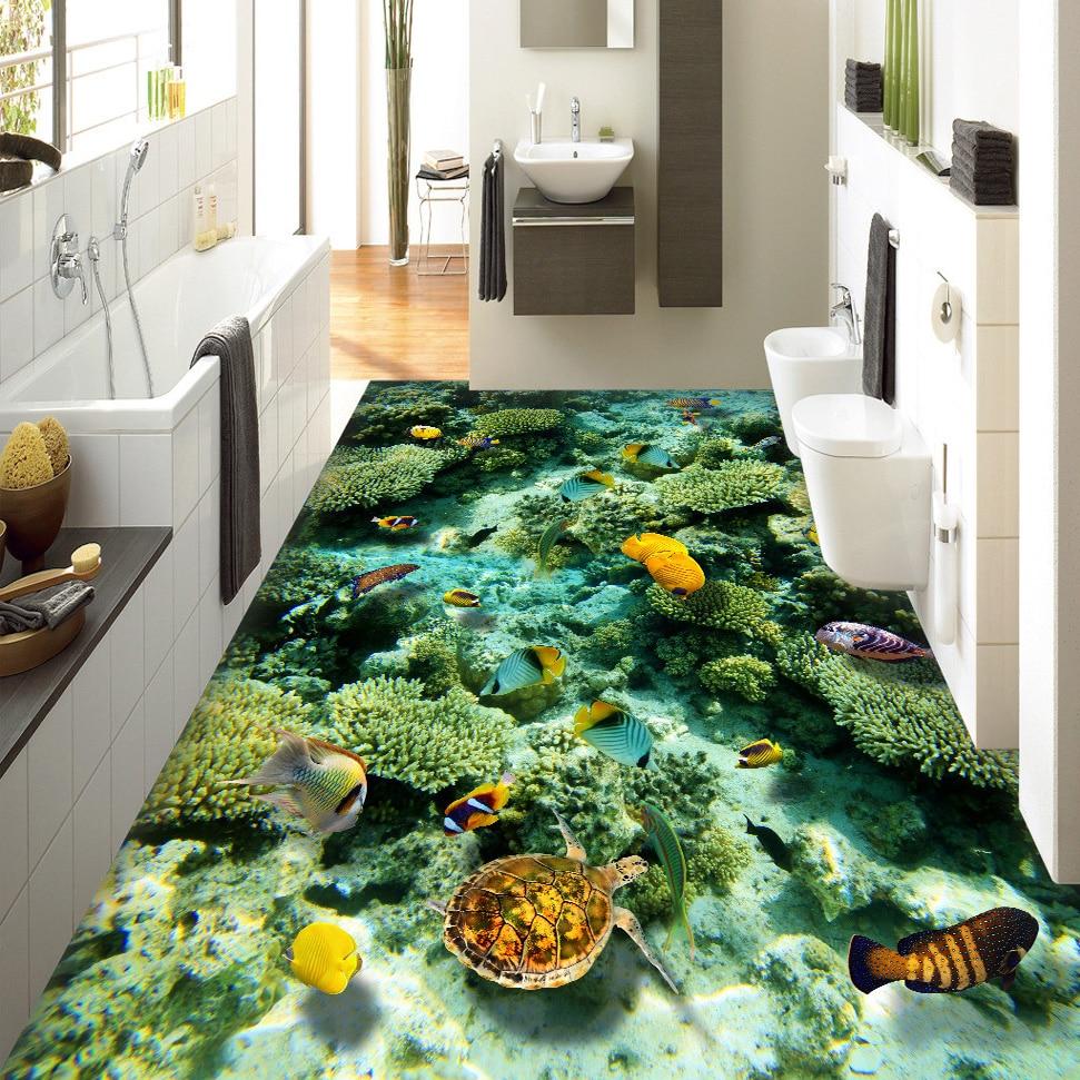 Custom 3D Floor Mural Wallpaper Ocean World Living Room Bathroom Floor Decoration Murale PVC Self-adhesive Floor Wallpaper
