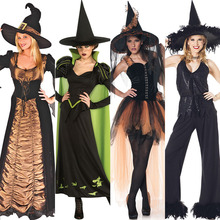 Free shipping adult Witch Costume witch Vampire Halloween dress costume role playing game suit with hat for women