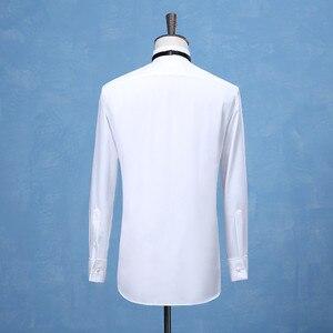Image 2 - 새로운 패션 신랑 턱시도 셔츠 최고의 남자 Groomsmen 화이트 블랙 또는 레드 남자 웨딩 셔츠 공식 행사 남자 셔츠