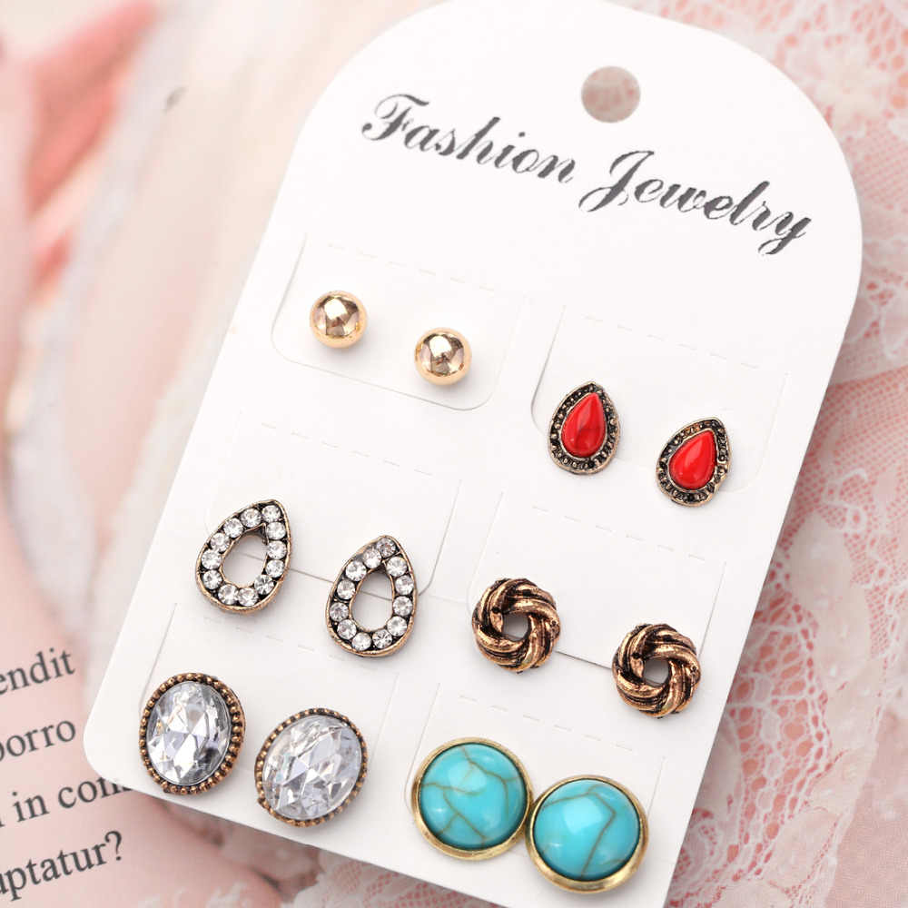 6 Pairs/lot Unique Design Vintage Small Crystal Stone Stud Earrings Set For Women Punk Round Water Drop Geometric Ear Studs Aros