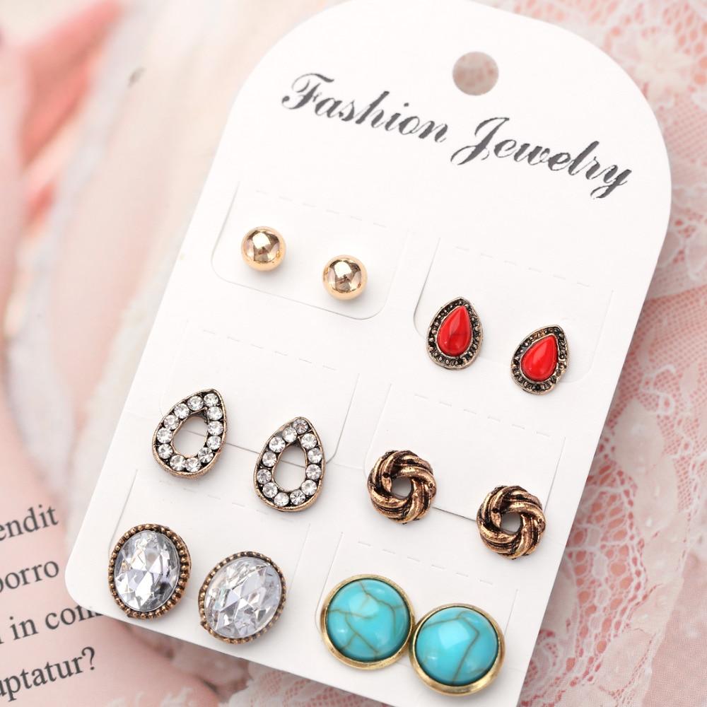 Earrings Simple Stud Earrings Set For Women Black Green Crystal Earrings Round Water Drop Stone Jewelry Boho Bijoux Party Gift Ear 2018