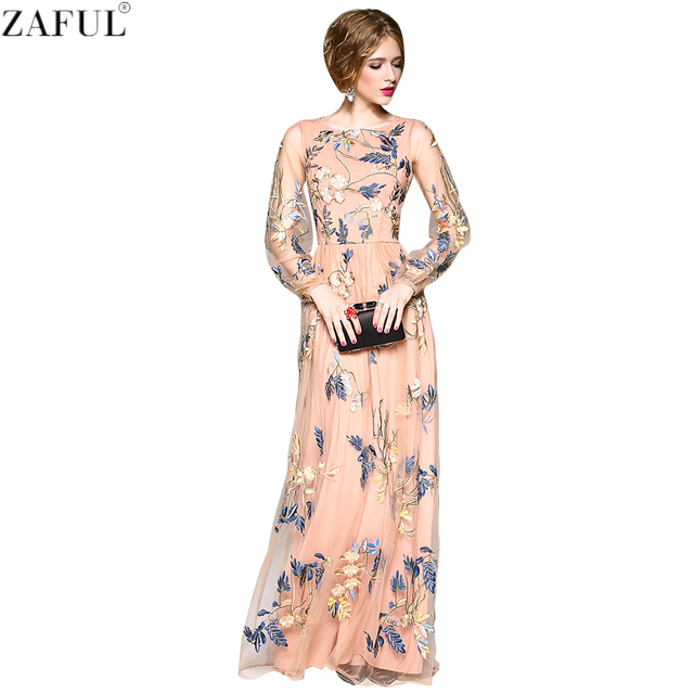 0269724f8b96c US $130.98 |ZAFUL Women Elegant Dresses Gorgeous Long Sleeves Mesh  Embroidery Dresses Size S XL Girls Retro Style Vestidos Formal Dresses on  ...