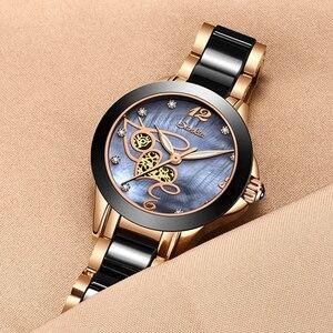 Image 4 - SUNKTA أعلى جودة السيدات حجر الراين ساعة فاخرة ارتفع الذهب الأسود السيراميك مقاوم للماء ساعات امرأة الكلاسيكية سلسلة السيدات ساعة