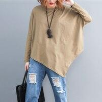 Johnature 2019 Autumn New Product Plus Size T Shirt Korean Loose Fashion Irregular Hem Long Sleeve Solid Color T shirt Female