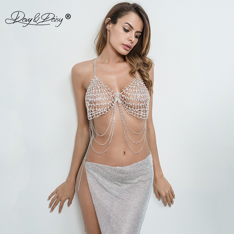 091b6abfff DAVYDAISY Women Sexy Bra Chain Rhinestone Crystal Bralette Female ...