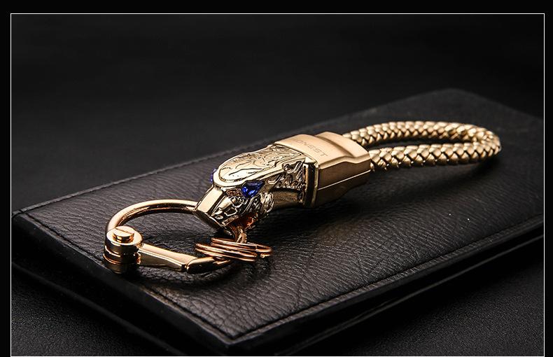 HTB1NFIoa4OMSKJjSZFlq6xqQFXaz - New High Grade Men Key Chain Key Ring Rhinestones Car Keychains Holder Jewelry Bag Pendant Business Gift Genuine Leather K1572