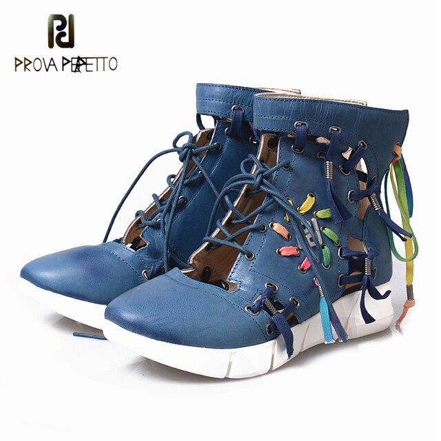 Prova Perfetto 2018 Đôi Giày Thể Thao Phụ Nữ Phong Cách Mới Cắt Ra Ren Up Cao-top Phụ Nữ của Giày Thể Thao Giày Boots Thực da Rỗng Ra Giày