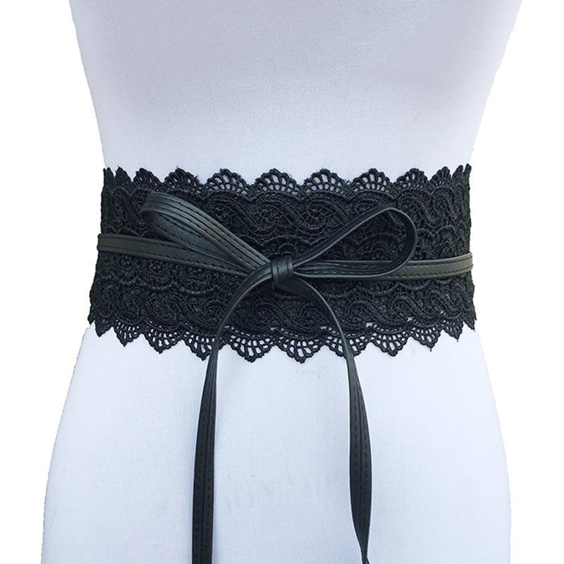 New Black White Wide Corset Lace Belt Female Self Tie Obi Cinch Waistband Belts For Women Wedding Dress Waist Band Accessories