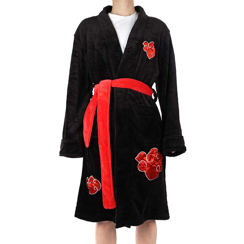 Classic Anime Naruto Uchiha Itachi Costumes  Cosplay Coral Velvet Bathrobe Pajamas Leisure Wear Fit Party European Size