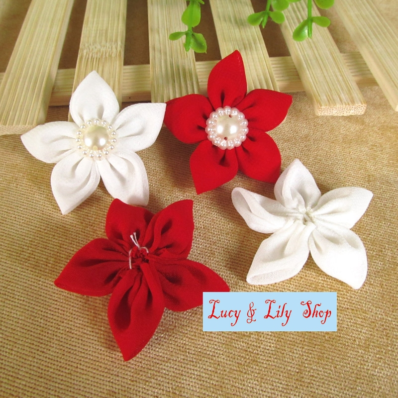 Super elegant chiffon fabric flowers 4CM small dress sewing craft     Super elegant chiffon fabric flowers 4CM small dress sewing craft flower  diy with pearls fashion red and white in Patches from Home   Garden on