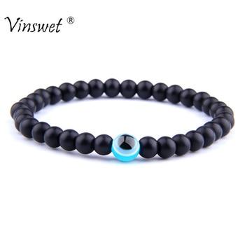 Trendy Black Natural Stone with Evil Eye Round Beads Bracelet & Bangles for Women Charm Bracelet Men Fashion Jewelry Bileklik leather