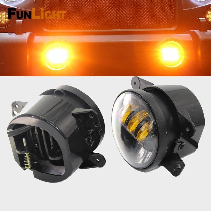 4 Led Fog Light 30W LED Headlights Yellow Fog Lights for Jeep Wrangler JK Auto Len Projector on sale 2pcs auto accessories 6500k 4inch 30w led fog lamp light fits for jeep wrangler jk 2007 2015
