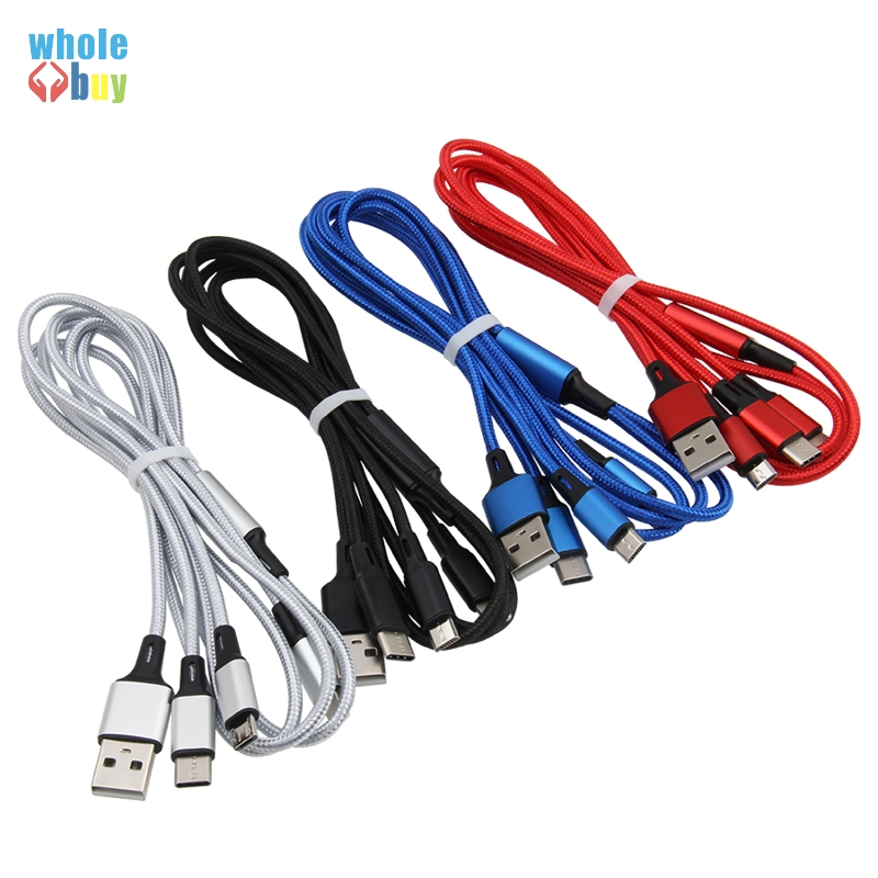 100pcs/lot High quality Nylon braided fabric <font><b>3in1</b></font> <font><b>USB</b></font> Type C Micro 5pin 8pin 3 in 1 fast Charging <font><b>Cable</b></font> for iphone Sony Samsung image