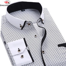 DRESSERVICE 2016 Men Casual Long Sleeved Printed shirt Fashion Slim Fit Male Dress Shirt Brand Men Clothing