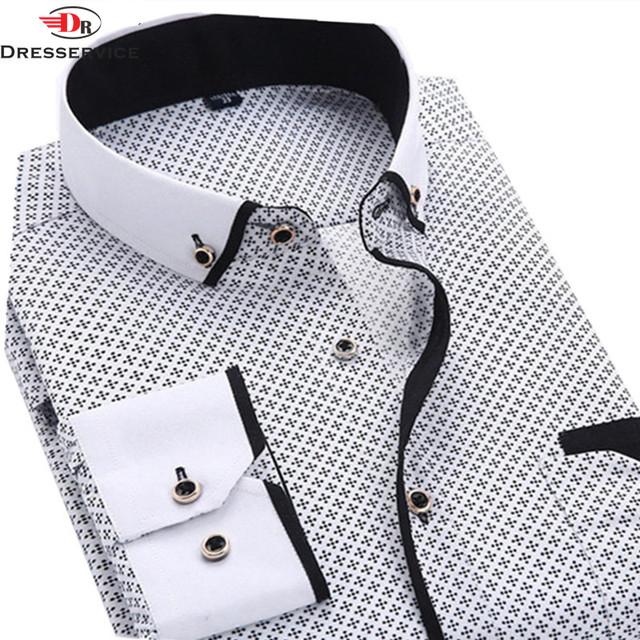 DRESSERVICE 2016 Men Casual Long Sleeved Printed shirt Fashion Slim Fit Male Dress Shirt Brand Men Clothing