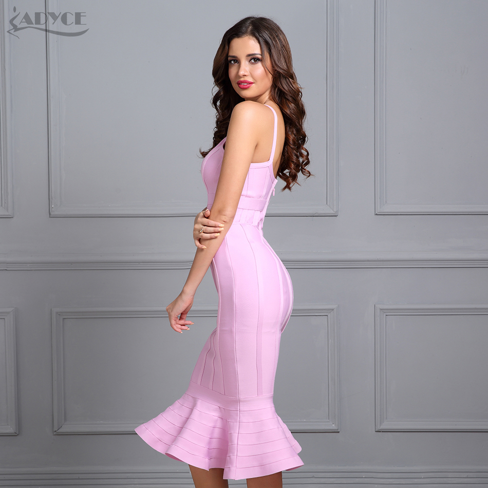 Adyce Women Summer Pink Bandage Dress 2019 Spaghetti Strap Mermaid V Neck Midi Clubwears Celebrity Evening Party Dress Vestidos in Dresses from Women 39 s Clothing