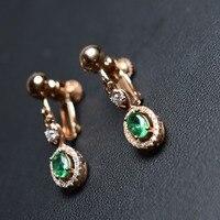 Fine Jewelry реального стерлингового серебра 925 Зеленый Изумрудный клип серьги для женщин изысканные серьги для не уха отверстие использование к