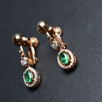 Fine Jewelry Real 925 sterling silver Green Emerald Clip earrings for women fine earrings for no ear hole usage clip earrings